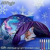 Nifogo Carpa Tiendas de Ensueño - Tent Kids, Magical World Carpa Impermeable Ensueño Wizard Children Play Cama Tienda Campaña (c-Copo Nieve)