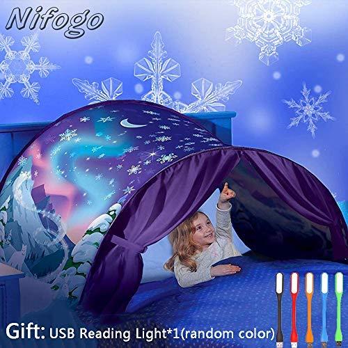 Nifogo Tente de Lit Enfant Tente de Rêve avec Lumiere Tente Playhouse de Tente Apparaitre Intérieure Enfant Tentes, Noël pour Enfants (c-Flocon Neige)
