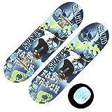 Skateboard Monopatín LED para Niños 28 Pulgadas Maple Mini Cruiser Skateboard Deck, Monopatín LED Intermitente para Niños de 6 A 15 Años,Street