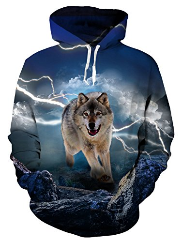 UNIFACO Wolf Hoodie Men Women 3D Printed Pullover Unisex Long Sleeve Cool Sweatshirts Pockets Hooded with Velvet L