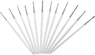 ULTNICE Pinceles de Detalle Arte Set para Acuarela Acrílica óleo Pintura 12pcs (Blanco)