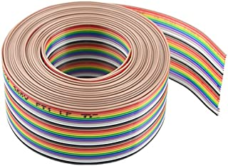 XLX 30Pin Wire Rainbow Color Flat Ribbon IDC Wire Cable(16ft/5m 30Wire)