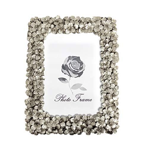 Fabnish Bilderrahmen 15x20 cm - Silber - Stehender Tischrahmen mit Blumen - Vintage, Antik, Barock und Modern - Fotorahmen mit Glasscheibe - Deko für Deine Wohnung
