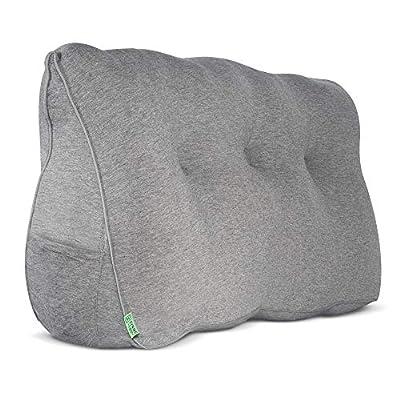 Perfecto para leer y relajarse: La almohada triangular es ideal para apoyarse cómodamente en la cama o el sofá y relajarse. Para un confort puro y una posición sentada óptima - sin que la almohada pierda volumen, ya que además de la suave funda (poli...