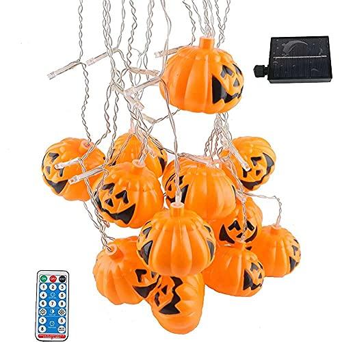nanxing Luces de cadena de Halloween,96 LED 5,4 m sombrero de brujas decoración de calabaza,Luz solar de la cortina de hadas,Remoto