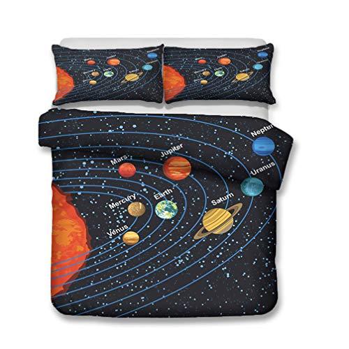 WENYA Impresión 3D Espacio Universo Galaxia Planeta Cohete Astronomía Juego de Cama Niño Niña Funda Nórdica y Funda de Almohada Microfibra (Estilo 1, 150 x 200 cm - Cama 90 cm)