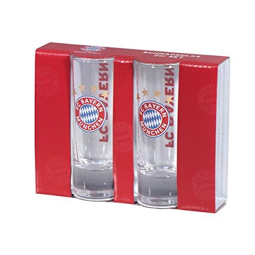 FC Bayern München Schnapsglas 2er Set + Sticker, kompatibel FCB Glas, Shot Glass, Vaso, verre Shot,