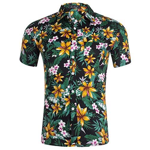 catmoew Herren Hawaiihemd 3D Gedruckt Muster Kurzarm Aloha Freizeit Hemd Button Down Graphic Hemden Shirts drucken Schmales T-Shirt Revers Taste Strickjacke Sommer- Mode
