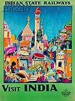 ERZANメタルポスター壁画ショップ看板ショップ看板インドの州の鉄道がインドを訪問ヴィンテージ鉄道旅行広告インテリア 看板20x30cm