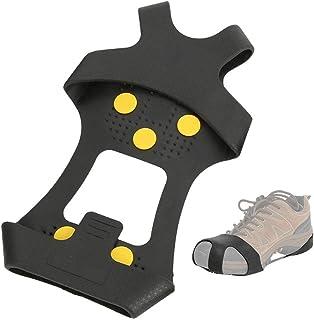 Sytaun 2 Pezzi Ramponi con Tacchetta Antiscivolo Copriscarpe per Sport allAria Aperta Ramponi Antiscivolo Copertura per Scarpe in Silicone Strumento per Alpinismo da Campeggio Nero