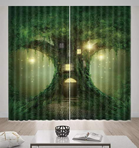 Nonebranded Home Decorative Blackout Curtain For Girls Boys Bedroom - Tree Cabin Patternh166 X W150 Cm