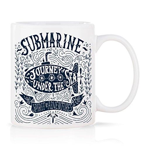 VOODOO ISLAND Tasse mug Petit-déjeuner de Porcelaine Blanche 30 cl. modèle Submarine