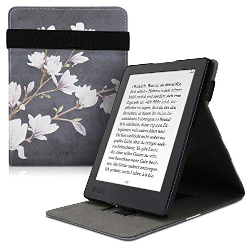 kwmobile Funda Compatible con Kobo Aura H2O Edition 2 - Carcasa para e-Book de Cuero sintético - Magnolias marrón Topo/Blanco/Gris Oscuro