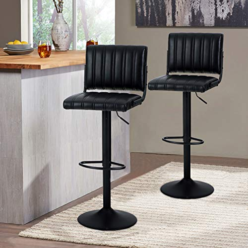 Sophia & William Bar Stools Set of 2 Counter Height, Adjustable Swivel Barstools Modern Square PU Leather Bar Height Dining Chairs with Back for Kitchen Dining Room Pub, 300 LBS Capacity, Black