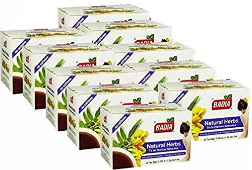 Badia Natural Herbs Tea Bags, 25-count (Pack of10)