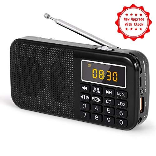 J-725C Radio FM portátil pequeña, radio de batería recargable digital con reloj despertador, linterna LED, tiempo de reproducción ultralargo, reproductor de MP3 AUX Micro-SD Pendrive, de PRUNUS(Negra)