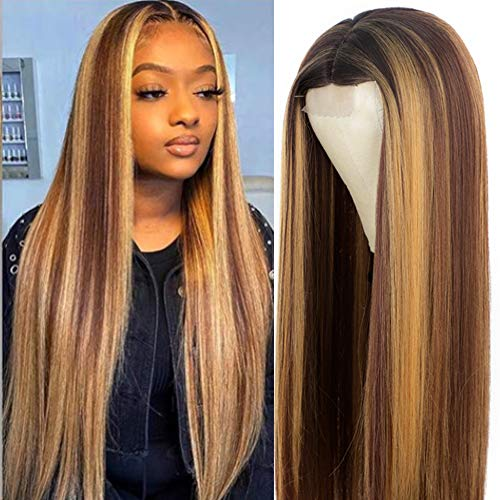 AISI HAIR Highlights Blonde Wig for Women Synthetic Long Straight Hair Middle Part Mixed Blonde Wig for Daily
