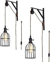 Vintage wandlamp met stekker, 3 m kabel, leeslamp, retro metaal, instelbare hoek, E27-fitting, wandlamp voor slaapkamer, k...