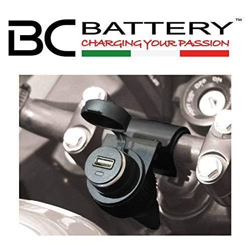 BC Battery Controller 710-P12USB - Prise 12V Allume Cigare Étanche avec Support Universel au Guidon pour Moto + Chargeur/Adapteur USB Extractible