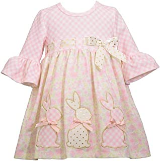 Girl's Easter Dress - Pink Bunny Dress for Baby Toddler and Little Girls