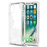 Eouine Funda para iPhone XS, Fundas para iPhone X, Ultrafina Cárcasa Silicona 3D Transparente con Dibujos Diseño [Antigolpes] Fundas para Movil para iPhone XS/X 2018-5,8 Pulgadas (Flor Blanca)