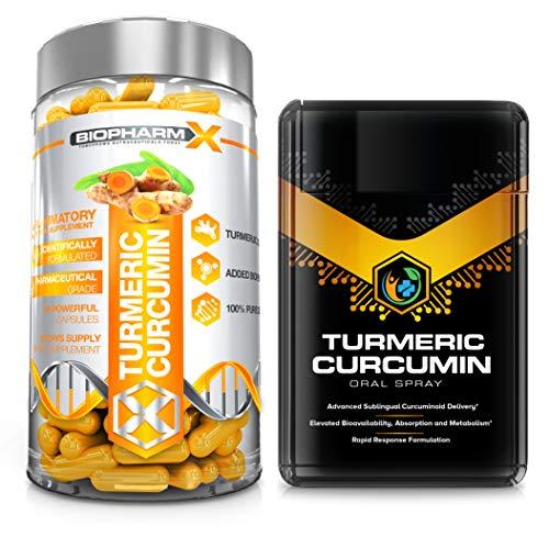 Certified Turmeric Curcumin 2000mg with 10mg Black Pepper (60 Capsules) + Turmeric Curcumin Oral Spray (20ml) Maximum Potency & Bioavailability