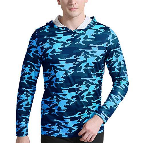 HISKYWIN Men's UPF 50+ Sun Protection Hoodie Long Sleeve Performance T-Shirt Athletic Top Rashguards HF110-Camouflage Blue-L