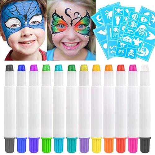 HOWAF 12 Colores Pinturas Faciales y Corporales, Lapices Faciales - Kit de Decoración de...
