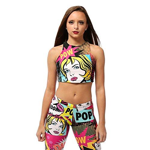Alexandra Collection Adult Pow! Pop Art Sports Workout Crop Top Pink Medium