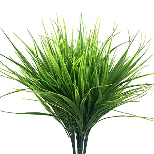 Ymwave 4 STK Grün Künstliche Plastik Sträucher Gefälschtes Weizengras Künstliche Grünpflanzen Geeignet für Draußen Haupttabelle Küchen Büro Hochzeits Garten Dekor