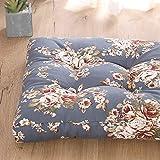 LXQGR Cojín de lona de algodón para silla de estudiante, cojines de tatami, cojines gruesos, adecuados para el hogar y la oficina del estudiante (color: flor J, tamaño: 53 x 53 cm)