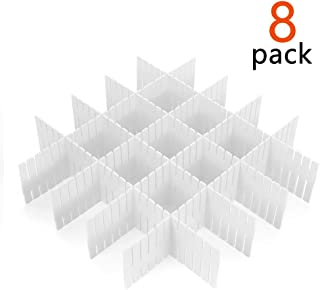 8 Pcs Plastic DIY Grid Drawer Divider Household Necessities Storage Thickening Housing Spacer Sub-Grid Finishing Shelves for Home Tidy Closet Stationary Socks Underwear Scarves Organizer (White)