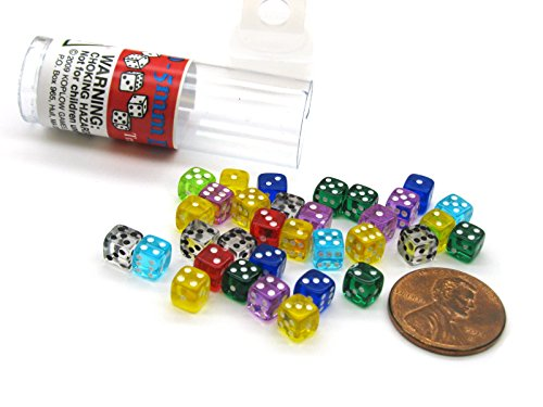 Tiny Dice: Deluxe Transparent: 30pc Assorted Colours