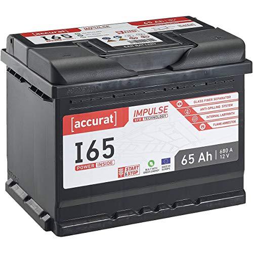 Accurat 12V Autobatterie 65Ah 680A EFB Impulse I65 Starterbatterie für Fahrzeuge mit hohem Energiebedarf, Start-Stop Automatik, wartungsfrei