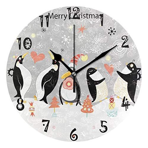 BEUSS Arte Navidad Pinganillo Reloj de Pared Silencioso Decorativo Madera Vintage Relojs para Dormitorio Hogar Oficina Escuela Decoración