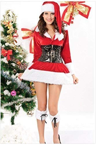 Ladies 3 Piece Sexy Mrs Miss Christmas Santa Fancy Dress Costume Outfit