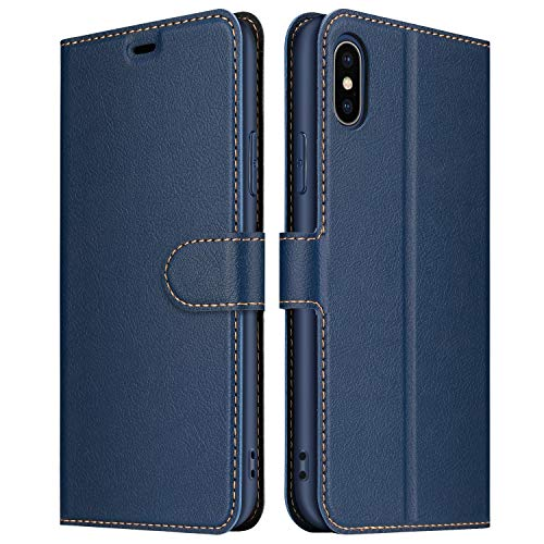 ELESNOW Hülle für iPhone XS Max, Premium Leder Klappbar Wallet Schutzhülle Tasche Handyhülle mit [Magnetisch, Kartenfach, Standfunktion] für Apple iPhone XS Max - 6.5