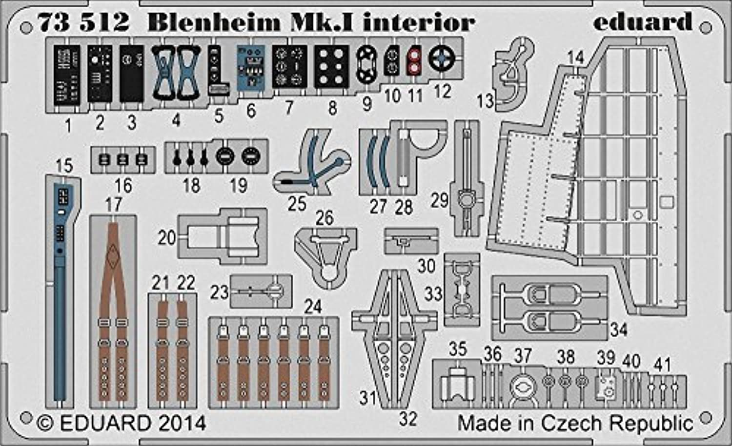 EDU73512 1 72 Eduard Farbe PE - Blenheim Mk.I Interior Detail Set (for use with the Airfix kit) [MODEL KIT ACCESSORY] by Eduard
