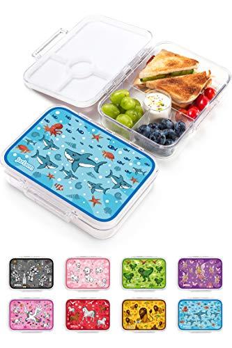 JARLSON® Brotdose für Kinder mit 4 Fächern - Lunchbox aus Tritan - Bento Box auslaufsicher – Jausenbox für Kindergarten und Schule - Mädchen und Jungen - 850ml (Haie)