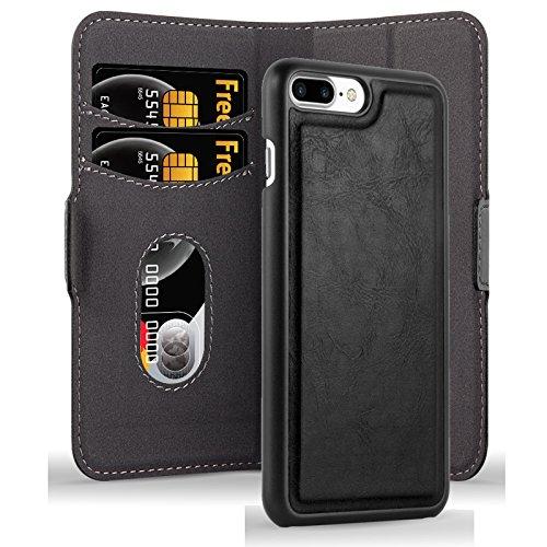 Cadorabo Apple iPhone 8 Plus / 7 Plus / 7S Plus Funda de Cuero Sintético 2 EN 1 en Negro CARBÓN Cubierta Estilo Libro con Cierre Magnético, Tarjetero y Función de Suporte Etui Case Cover Carcasa