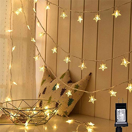Lyhope Christmas Star Lights, 100 LED 33ft Low Voltage Twinkle Star Fairy String Lights, 30V UL Certified for Indoor & Outdoor, Party, Wedding and Holiday,Xmas Tree Decorations (Warm White)