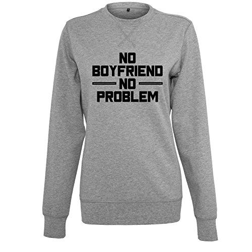 OwnDesigner no Boyfriend no Problem Damen Kleid V-Ausschnitt Hoodie Sweatshirt Kapuzenpullover Hooded Sweater Tunika Minikleid (355-S B25-Grau-M)