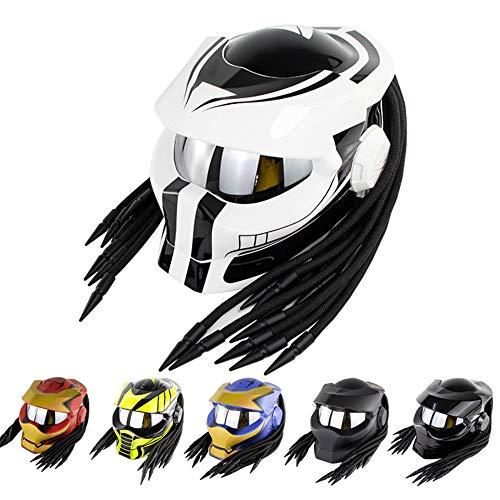 Yilingqi-1 Personalidad Predator Casco Plegable y Flip-up Casco de Motocross Hierro Sangre Guerrero Motocicleta Casco Integral,White Planet,M