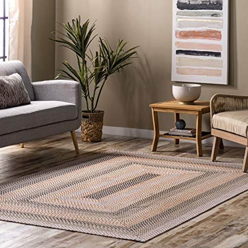 nuLOOM Gwyneth Braided Borders Indoor/Outdoor Area Rug, 6' x 9', Beige Multi