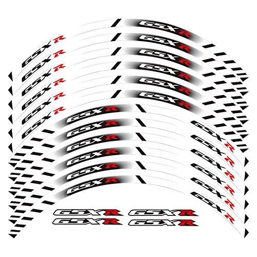 Bazutiwns Un Conjunto de calcomanías de Ruedas de Motocicleta de 12 unids Impermeable Etiquetas Reflectantes Rimas de llanta para Todos Suzuki GSXR HSLL (Color : White)