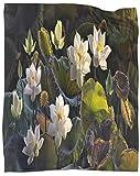 SSKJTC Manta ligera con diseño de flor de loto blanco con hojas de loto tumbona, tumbona de lectura reclinable, 80 x 101 cm
