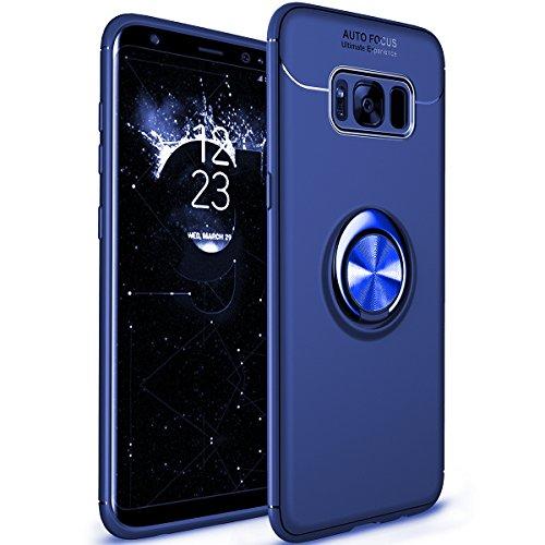 WATACHE Galaxy S8 Hülle, Ring Kickstand 360 Grad rotierenden Ring Drop Schutz Stoßdämpfung weichen TPU Cover [Arbeit mit magnetischen Auto Halterung] für Samsung Galaxy S8(Blau)