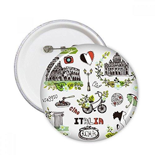 Spring Colosseum Roma Italien Graffiti rund Pins Badge Button Kleidung Dekoration Geschenk 5X Größe S