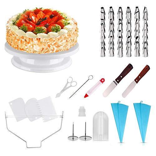 homeasy Kuchen Drehteller Tortenplatte drehbar Tortenständer 71-Set mit Edelstahl Spritztüllen, Silikonbeutel