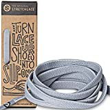 The Original Stretchlace - Flat Elastic Shoelaces, Stretch Shoe Laces for Adult Sneakers, Stylish Shoe Laces for Elderly, Kids, and People with Special Needs, Light Grey, 45in